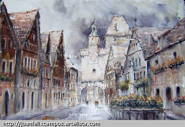Rothembourg, Alemania Papel Acuarela Paisaje