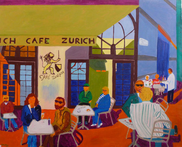 Exterior caf Zurich Canvas Oil Others