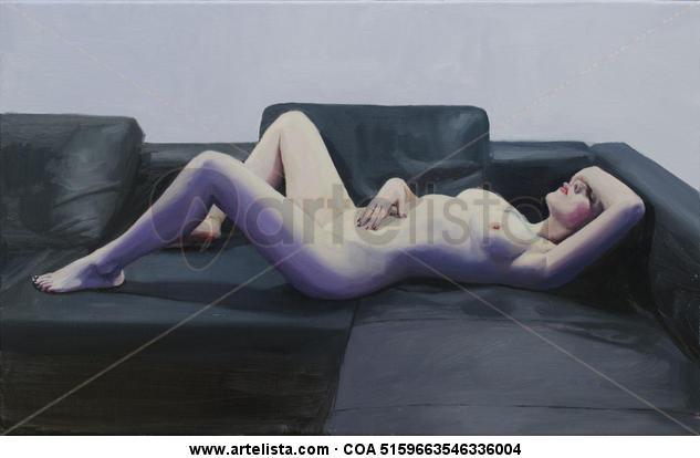 Desnudo violeta. Lienzo Óleo Desnudos