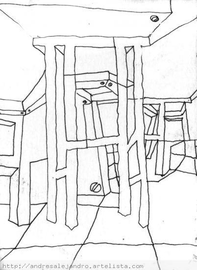 Composición con sillas y mesas Tinta