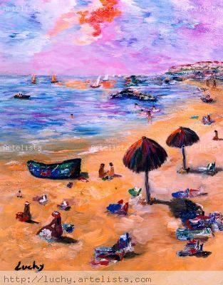 playa imaginaria Lienzo Óleo Paisaje