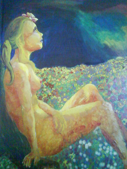 Mujer en Campo de Flores por la Noche Desnudos Acrílico Tabla
