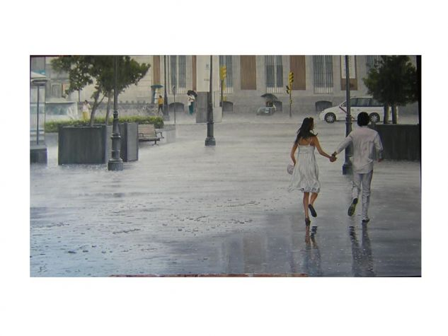 PAREJA BAJO LA LLUVIA Panel Oil Landscaping
