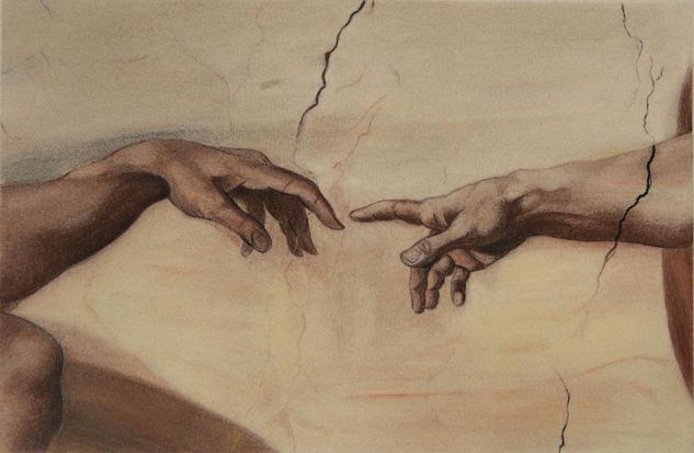 La creación de Adán de Miguel Angel. Fragmento. Interpretación. The Creation of Adam by Miguel Angel. Fragment. Interpretation Pastel Figura Papel