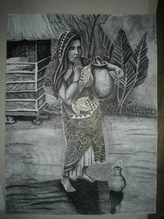 Mujer con cántaro Tinta Papel Paisaje