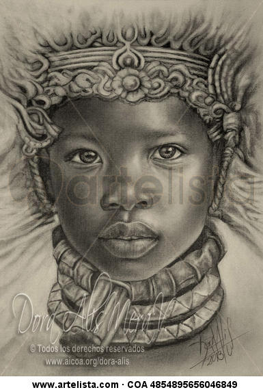 Niña de África N°65 (Diosa Negra del Fuego) Grafito