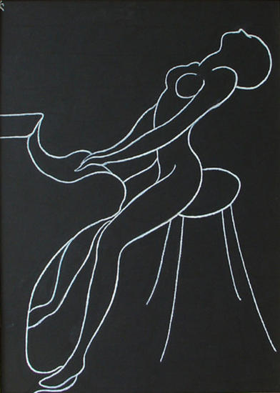 Pianista-mujer Card Acrylic Figure Painting