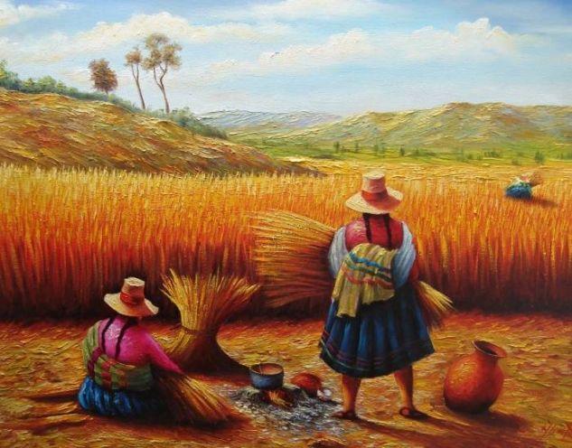 cosecha de trigo Óleo Lienzo Paisaje