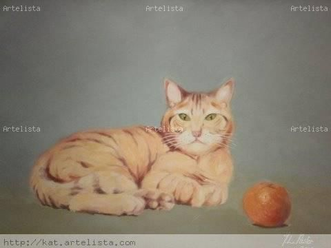 Gato a la naranja Óleo Lienzo Animales