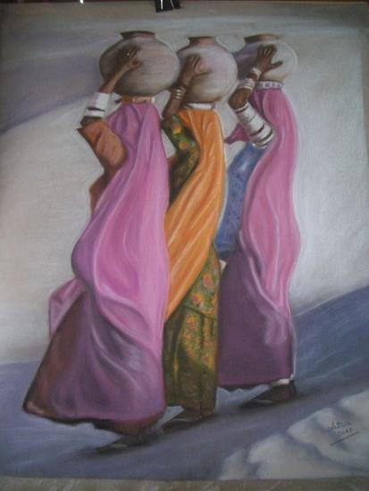Mujeres con cántaros Papel Pastel Figura