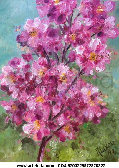 Pink blossoms Floral Painting Oil Panel