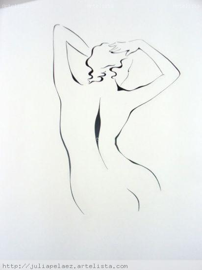 silueta femenina Others Canvas Nude Paintings