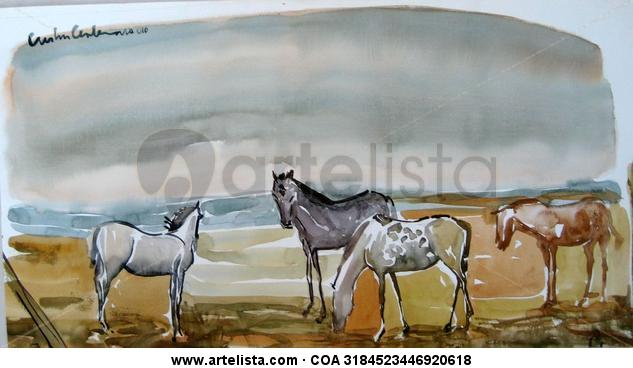 Caballos estudio Papel Animales Acuarela