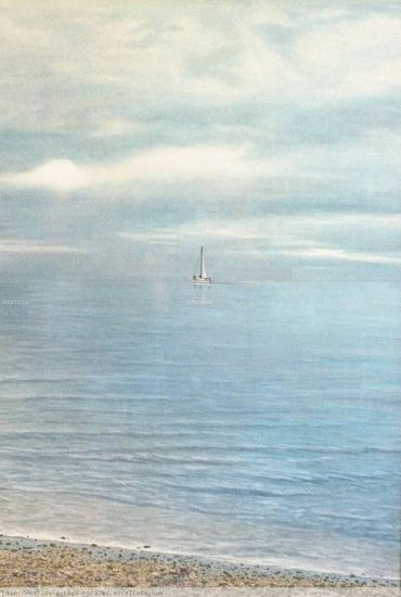 Dia brumoso con velero Lápiz (a color) Cartulina Marina