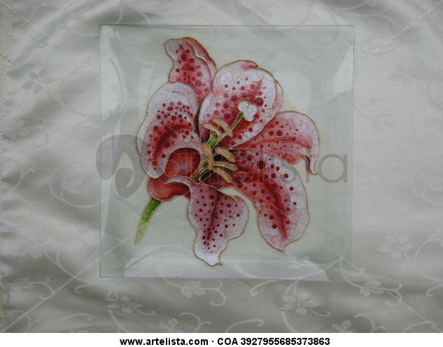 Lirio Floral De vidriera Cristal