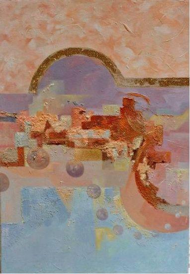 3ª parte de triptico abstracto Óleo Lienzo Paisaje