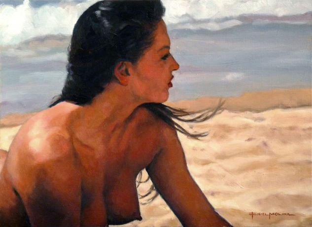 Acariciada por la brisa Panel Oil Nude Paintings