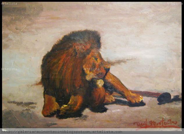 Panthera leo. Acrílico Animales Otros