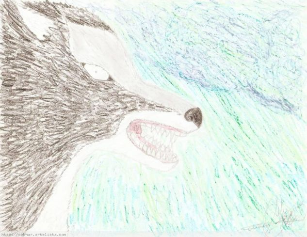Lobo Feroz Cera Papel Animales
