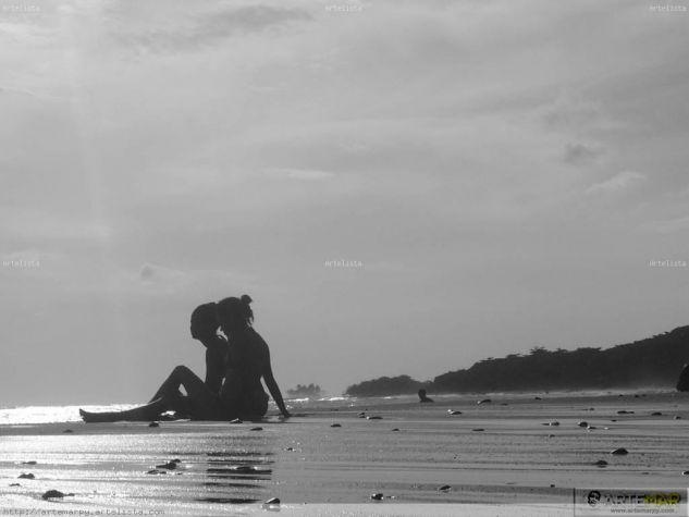 Siluetas, arena y mar Naturaleza Blanco y Negro (Digital)