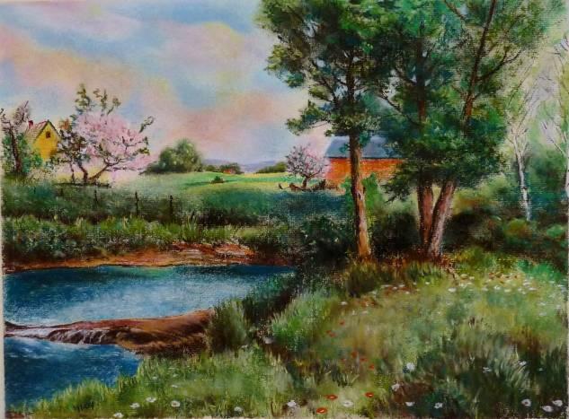 paisaje al pastel Paisaje Papel Pastel