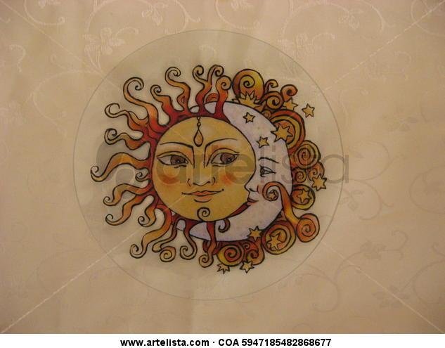 Sun and Moon Cristal De vidriera Figura