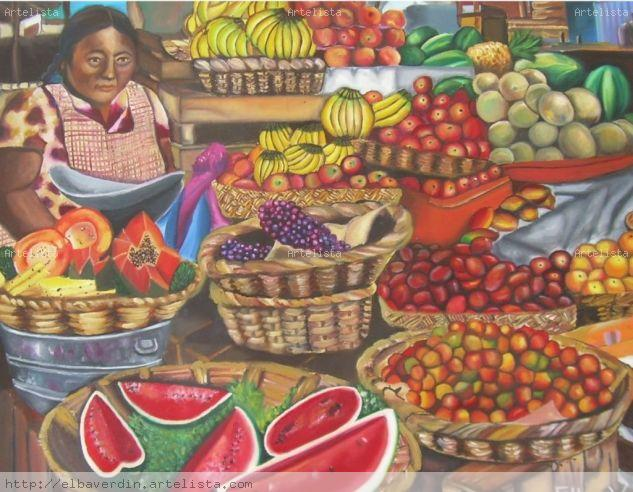 Mercado Mexicano Oil Canvas Still Life Paintings