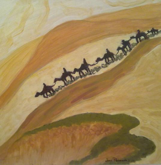 viaje a Samarkanda en el desierto. Cartulina Acrílico Paisaje