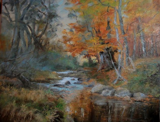 Reflejos en el rio Lienzo Óleo Paisaje