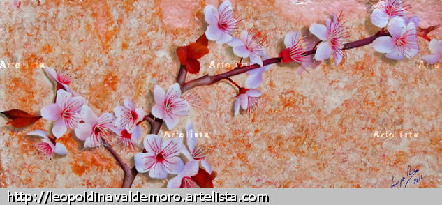 Almendros blancos en flor. Others Oil Floral Painting