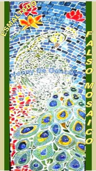 Mosaico del pavo real azul Panel Others Animals