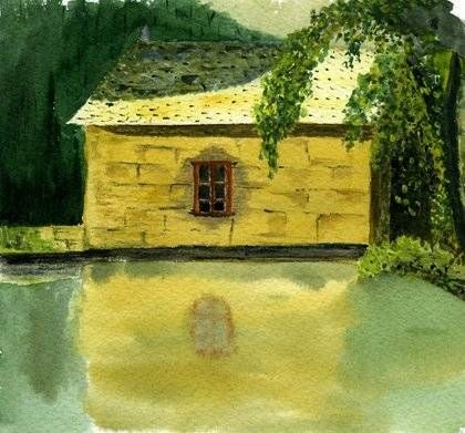 La casa del bosque Acuarela Papel Paisaje