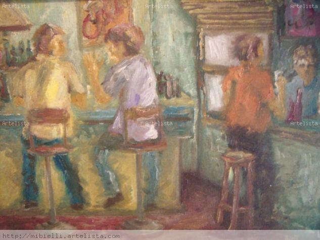 velho botequim Oil Panel Figure Painting