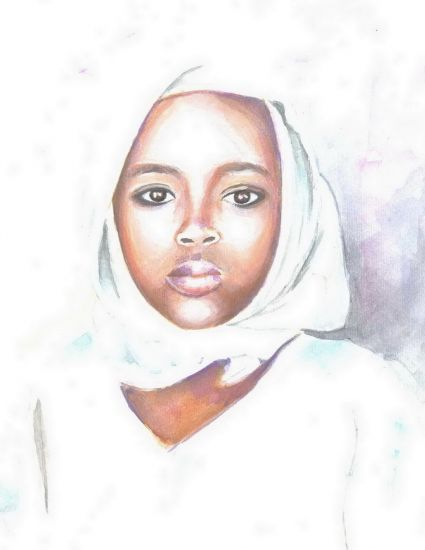 Nigerian girl Paper Watercolour Portrait