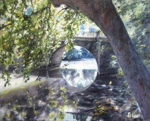 puente de rotxapea. río arga de pamplona