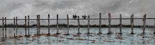 amanecer, puente de u bein en birmania