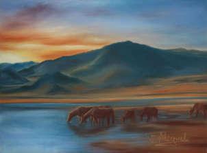 caballos junto al lago