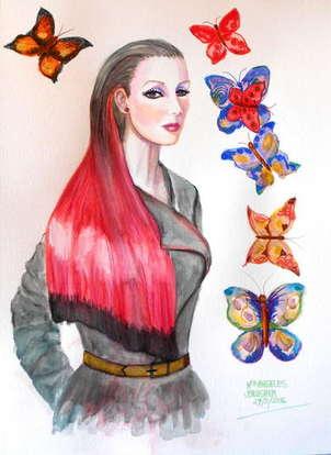 retrato con mariposas