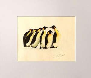 6 pinguinos en fila