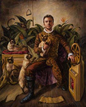 autoretrato con gatos