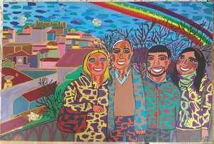 la familia con un rainbow