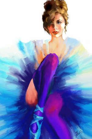 bailarina con medias violeta