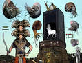 Retrato del dios Banebdyedet y su Naos, a su vez es custodiado por cinco Nautilus y un ammonites