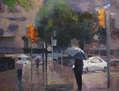 Lluvia, paraguas, coche blanco.
