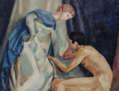 Desnudo de espalda con maniquí II