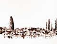 skyline barcelona acrilico papel