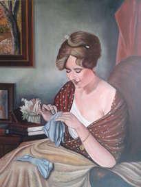 mujer cosiendo.