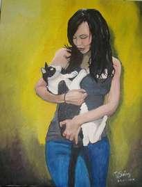 chica con gato