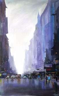 city street at rainy day