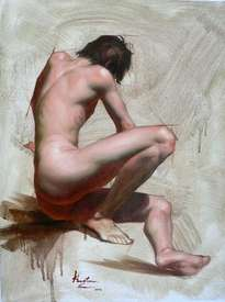 original oil painting art-malle nude by hongtao